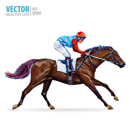 Jockey on horse. Champion. Horse racing. Hippodrome. Racetrack. Jump racetrack. Horse riding. Vector illustration. Racing horse coming first to finish line. Isolated on white background. Vettoriali