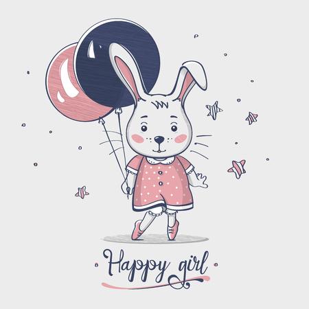 Nice small happy baby bunny girl with balloon. Hand drawn. Cartoon. Kids fashion. Design print. Baby wear. Vector illustration.