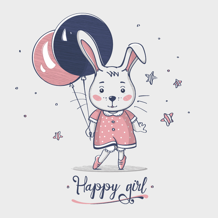 Nice small happy baby bunny girl with balloon. Hand drawn. Cartoon. Kids fashion. Design print. Baby wear. Vector illustration.