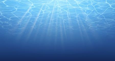 Sommer. Textur der Wasseroberfläche. Unterwasserhintergrund. Welleneffekte. Blaue Unterwelt. Ozean Meer. Tauchen. Blaues Meer Poolwasser. Untersicht. Vektorillustrationsnaturhintergrund. Vektorgrafik