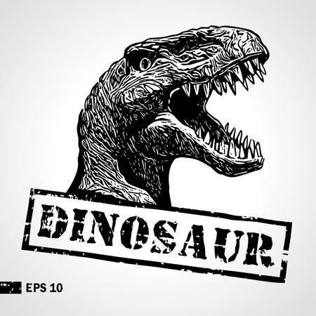 Dinosaur head. Sketch. Vintage print. Poster, logotype. Can be used for shirt print, fashion print design. Vector illustration. Stok Fotoğraf - 103313424