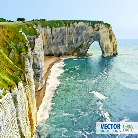 Normandy, Northern France, Europe. Spectacular natural cliffs Aval of Etretat and beautiful coastline. Stone arch. Landscape. Vector illustration. Illustration