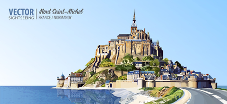 Mont Saint Michel cathedral on the island. Abbey. Normandy, Northern France, Europe. Landscape. Beautiful panoramic view. Vector illustration.