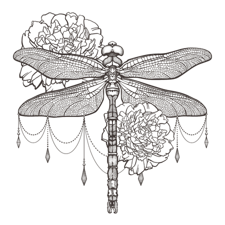 Black dragonfly Aeschna Viridls and peonies. T-shirt design. Isolated on white background. Dragonfly tattoo sketch. Coloring books. Symbol of freedom, travel. Hand-drawn vector illustration. Stok Fotoğraf - 104217857