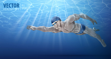 Professional male swimmer inside swimming pool. A man dives into the water. Summer background. Texture of water surface. Diving. Underwater. Vector illustration