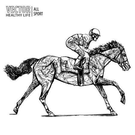 Fantino a cavallo. Campione. Corsa di cavalli. Ippodromo. Pista. Salta in pista. Equitazione. Cavallo da corsa che arriva primo al traguardo. Illustrazione vettoriale.
