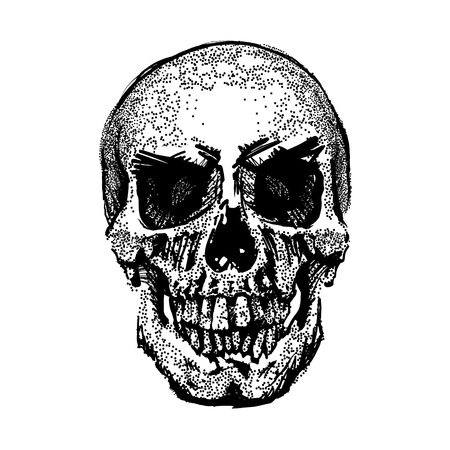 Skull image in grunge. Vector art. Street style. Symbol of death. Monochrome style. Isolated on white background. Particle divergent composition. Vector Illustration. Stock Photo