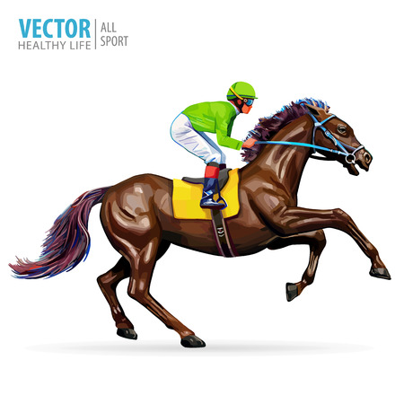 Jockey on horse. Champion. Horse racing. Hippodrome. Racetrack. Jump racetrack. Horse riding. Racing horse coming first to finish line. Isolated on white background. Vector illustration. 일러스트