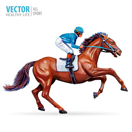 Jockey on horse. Champion. Horse racing. Hippodrome. Racetrack. Jump racetrack. Horse riding. Racing horse coming first to finish line. Isolated on white background. Vector illustration. 矢量图像