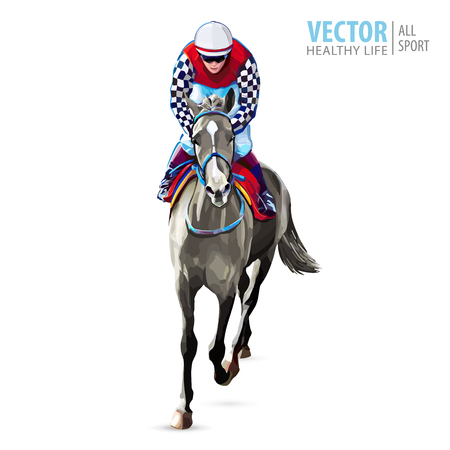 Jockey on horse. Champion. Horse racing. Hippodrome. Racetrack. Jump racetrack. Horse riding. Racing horse coming first to finish line. Isolated on white background. Vector illustration Foto de archivo - 107022570
