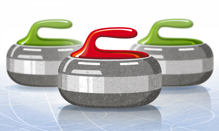 Stones for curling sport game. Ice. Rink. Vector illustration