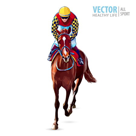 Jockey on horse. Champion. Horse racing. Hippodrome. Racetrack. Jump racetrack. Horse riding. Racing horse coming first to finish line. Isolated on white background. Vector illustration. Vectores