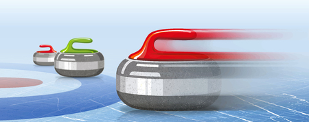 Stones for curling sport game. Ice. Rink. Textures blue ice. Winter background. Banner. Vector illustration, eps 10