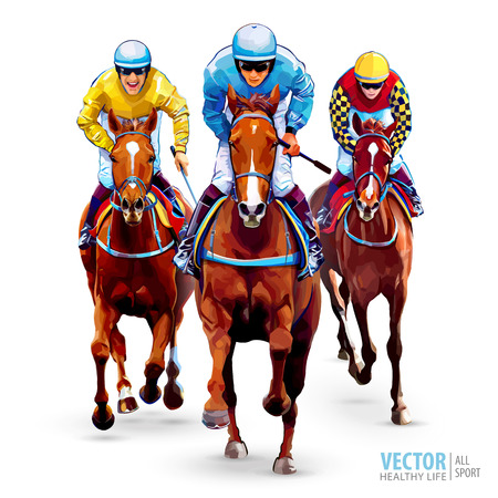 Horse racing. Hippodrome. Racetrack. Trio jockeys on horses. Isolated on white background. The view from the front. Vector illustration.