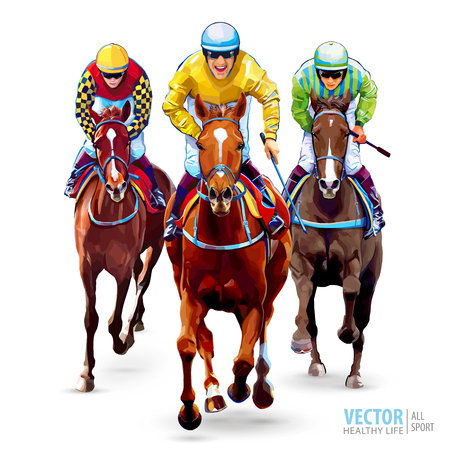 Horse racing. Hippodrome. Racetrack. Trio jockeys on horses. Isolated on white background. The view from the front. Vector illustration. Stok Fotoğraf - 124950894