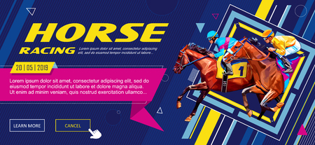 Banner. Universal template for a web site with text, buttons. Jockey on horse. Horse racing. Hippodrome. Racetrack. Jump racetrack. Horse riding. Vector illustration