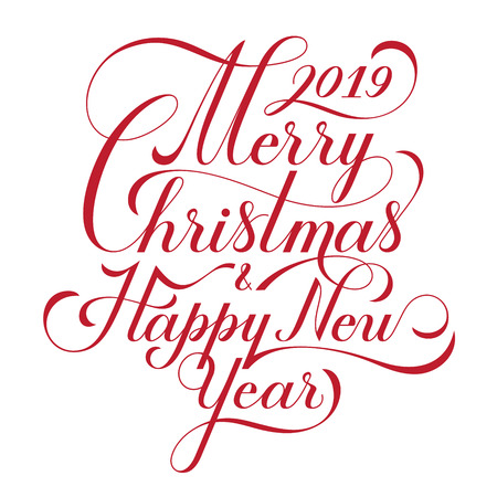 Merry Christmas and Happy New Year. Text. Calligraphic Lettering design card template. Creative typography for Holiday Greeting Gift Poster. Calligraphy Font style Banner. Vector illustration. 일러스트