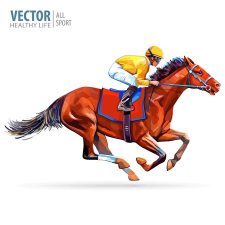 Dżokej na koniu. Mistrz. Wyścigi konne. Hipodrom. Tor wyścigowy. Skocz na torze wyścigowym. Jazda konna. Koń wyścigowy dojeżdżający jako pierwszy do mety. Na białym tle. Ilustracja wektorowa Ilustracje wektorowe