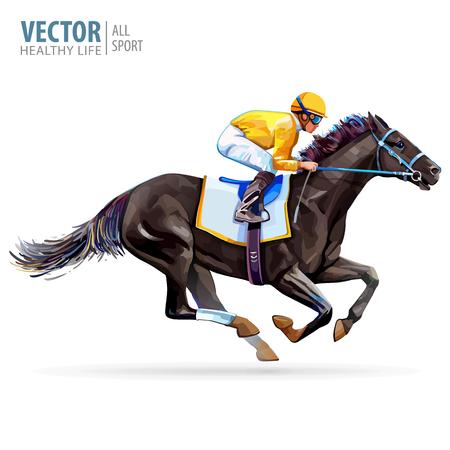 Jinete en caballo de carreras. Campeón. Hipódromo. Pista. Saltar pista de carreras. Equitación. Ilustración vectorial. Derby. Aislado sobre fondo blanco
