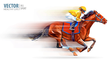 Jockey on racing horse. Champion. Hippodrome. Racetrack. Horse riding. Vector illustration. Derby. Speed. Blurred movement. Isolated on white background. 免版税图像 - 124950905
