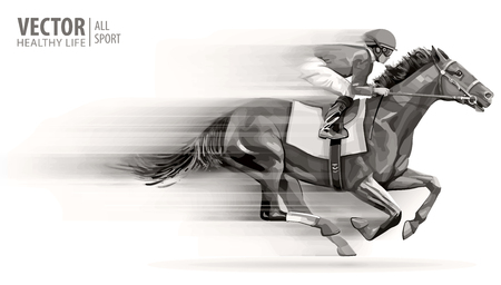 Jockey on racing horse. Champion. Hippodrome. Racetrack. Horse riding. Vector illustration. Derby. Speed. Blurred movement. Isolated on white background.