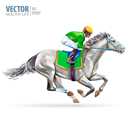 Jockey on racing horse. Champion. Hippodrome. Racetrack. Jump racetrack. Horse riding. Vector illustration. Derby. Isolated on white background. Vectores