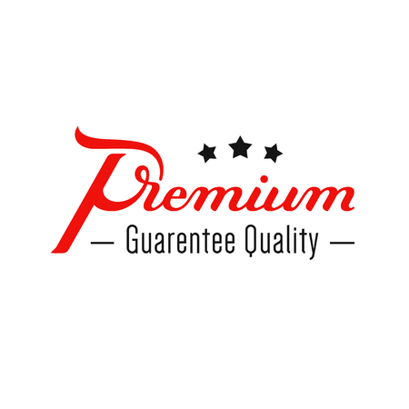 Premium. Quality guarantee. Hand written lettering logo. Modern label, badge. emblem. Calligraphy. Isolated on white background. Vector illustration Stok Fotoğraf - 124951027