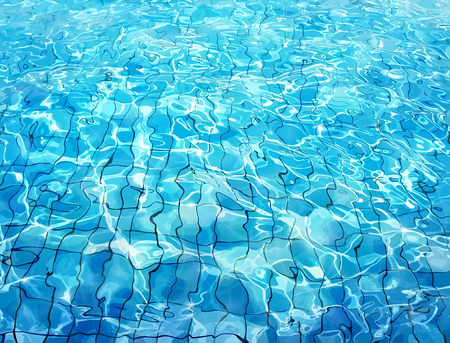 Swimming pool bottom caustics ripple and flow with waves background. Summer background. Texture of water surface. Overhead view. Vector illustration background. Illustration