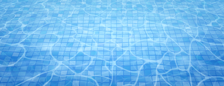 Swimming pool bottom caustics ripple and flow with waves background. Summer background. Texture of water surface. Overhead view. Vector illustration background. Stok Fotoğraf - 124785202