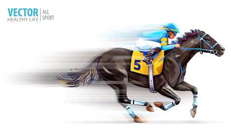 Jockey on racing horse. Champion. Hippodrome. Racetrack. Horse riding. Derby. Speed. Blurred movement. Isolated on white background. Vector illustration. Ilustração
