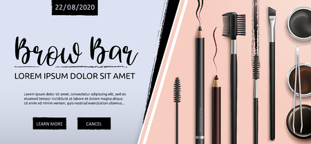 Lash and Brow Bar. Makeup. Accessories. Tools for care of the brows. Eyebrows pencil. Angle brush, tweezers and comb. Banner for professional makeup artist. Beauty shop. Vector. Stok Fotoğraf - 123753061