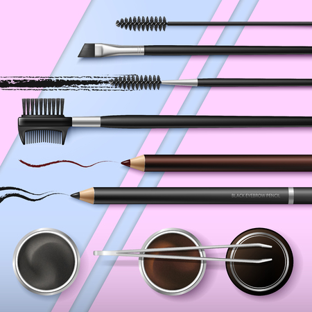 Lash and Brow Bar. Accessories. Make up. Tools for care of the brows. Eyebrows pencil. Angle brush, tweezers and comb. Banner for professional makeup artist. Beauty shop. Vector. Illustration