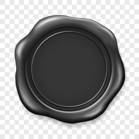 Zwarte lakzegel. Zegellak oude realistische stempel label op transparante achtergrond. Bovenaanzicht. Lege zwarte wax plastic zegel met donkere folie. Vector Illustratie