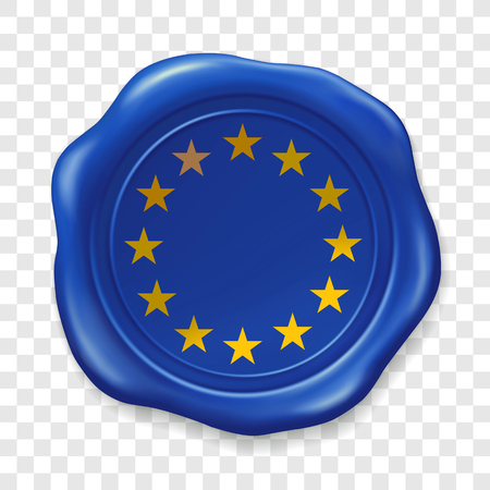 European union flag. Glossy wax seal. Sealing wax old realistic stamp label on transparent background. Top view. Label. Vector illustration