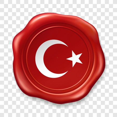 Turkish national flag with white star and moon. Glossy wax seal. Sealing wax old realistic stamp label on transparent background. Top view. Label. Vector illustration 矢量图像