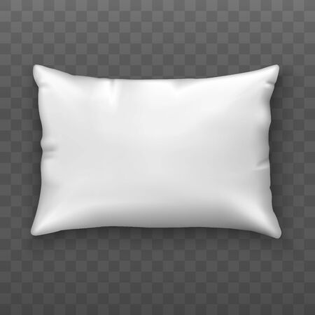 Blank white pillow. Soft cushion. Mock up. Top view. Realistic style. Vector illustration