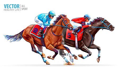 Due cavalli da corsa in competizione tra loro. Sport. Campione. Ippodromo. Pista. Equestre. Derby. Velocità. Isolato su sfondo bianco. Illustrazione vettoriale