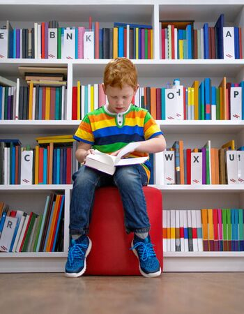 Adorable red-haired little boy, sitting in a library, reading book. Knowledge, education, getting ready for school. Multi colored bookshelf in the library. Kid and study concept 스톡 콘텐츠
