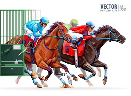 Three racing horses competing with each other. Start gates for horse races the traditional prize Derby. Hippodrome. Sport. Racetrack. Vector illustration 일러스트