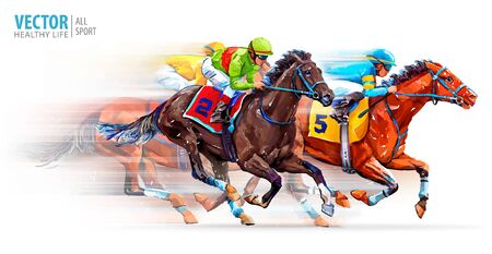 Three racing horses competing with each other, with motion blur to accent speed. Derby. Hippodrome. Racetrack. Sport. Vector illustration Ilustración de vector