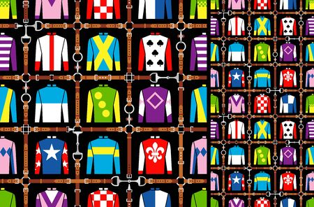 Seamless pattern jockey uniform. Traditional design. Silk. Harness, bridle, harness, belt. Horse racing fashion. Vector illustration 矢量图像