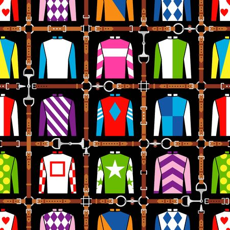 Seamless pattern jockey uniform. Traditional design. Silk. Harness, bridle, harness, belt. Horse racing fashion. Vector illustration 일러스트