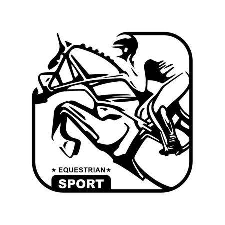 Logo. Design icons. Silhouette of racing horse with jockey. Equestrian sport. Poster. Sport. Jockey riding jumping horse. Vector Illustration Illustration