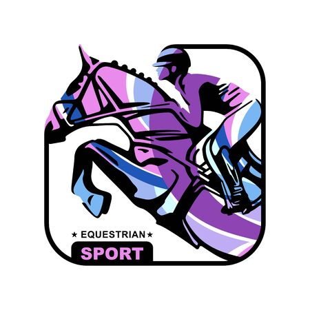 Logo. Design icons. Silhouette of racing horse with jockey. Equestrian sport. Poster. Sport. Jockey riding jumping horse. Vector Illustration 일러스트
