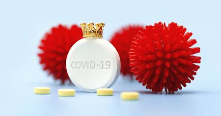 Chinese coronavirus COVID-19 macro foto. Dangerous virus. Medicine. Pills. Crown. Concept medicine. Health. Blue isolated background