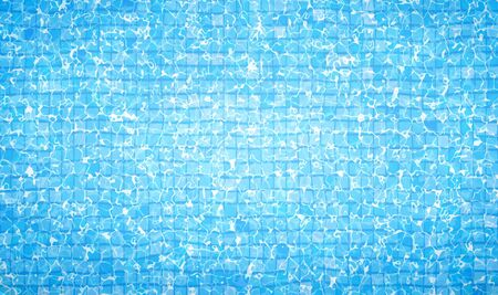 Swimming pool bottom caustics ripple and flow with waves background. Summer background. Texture of water surface. Overhead view. Blue sea pool water. Vector illustration background