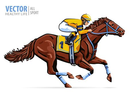 Jockey on racing horse. Sport. Champion. Hippodrome. Racetrack. Equestrian. Derby. Speed. Isolated on white background. Vector illustration 일러스트