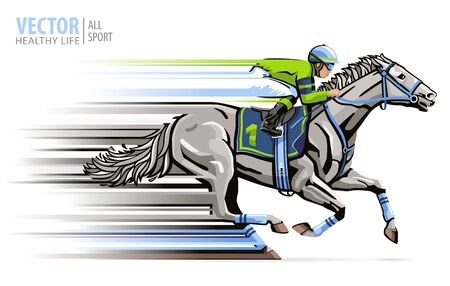 Jockey on racing white horse. Sport. Champion. Hippodrome. Racetrack. Equestrian. Derby. Isolated on white background. Vector illustration