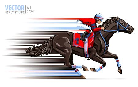 Jockey on horse race. Sport. Racehorse. Hippodrome. Racetrack. Equestrian. Derby. Speed. Isolated on white background. Vector illustration