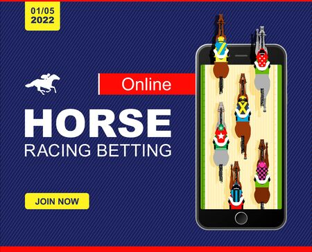 Racing horses competing with each other. Banner. Universal template for a website. Horse racing. Hippodrome. Racetrack. Top view. Vector illustration